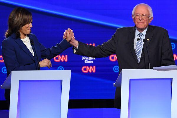 Democratic presidential hopefuls California Sen. Kamala Harris and Vermont Senator Bernie Sanders during the fourth Democratic primary debate of the 2020 presidential campaign season.