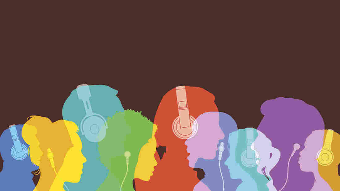 Colorful overlapping silhouettes of head profiles with earphones and headphones.