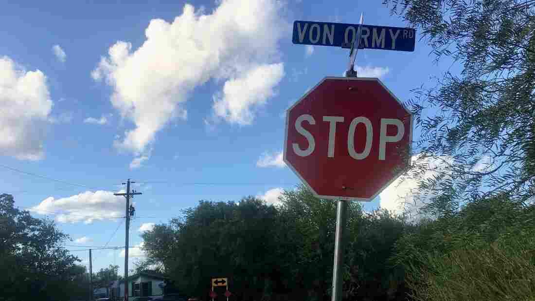A street sign in Von Ormy, Texas.