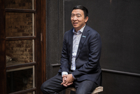 Entrepreneur and presidential hopeful Andrew Yang prepares for a meeting with undecided voters in Manhattan.