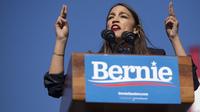 Rep. Alexandria Ocasio-Cortez, D-N.Y., speaks during a rally for presidential hopeful Sen. Bernie Sanders in Queens, N.Y., on Saturday.