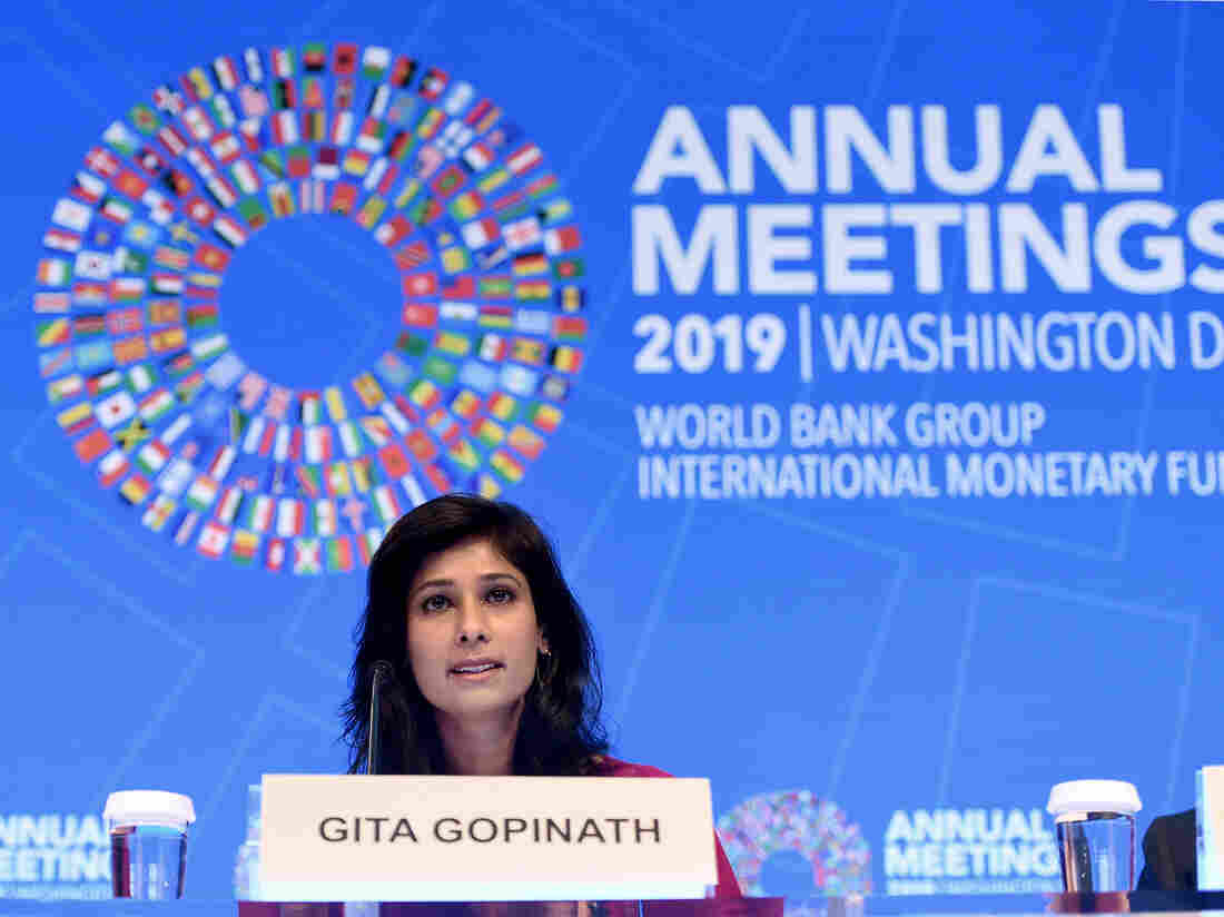 Gita Gopinath, IMF Chief Economist and Director of the Research Department, speaks at a briefing during the IMF and World Bank Fall Meetings on October 15, 2019 in Washington, DC.