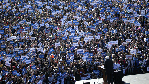 Democratic presidential candidate Sen. Bernie Sanders at a campaign rally in Queensbridge Park in New York on Saturday.