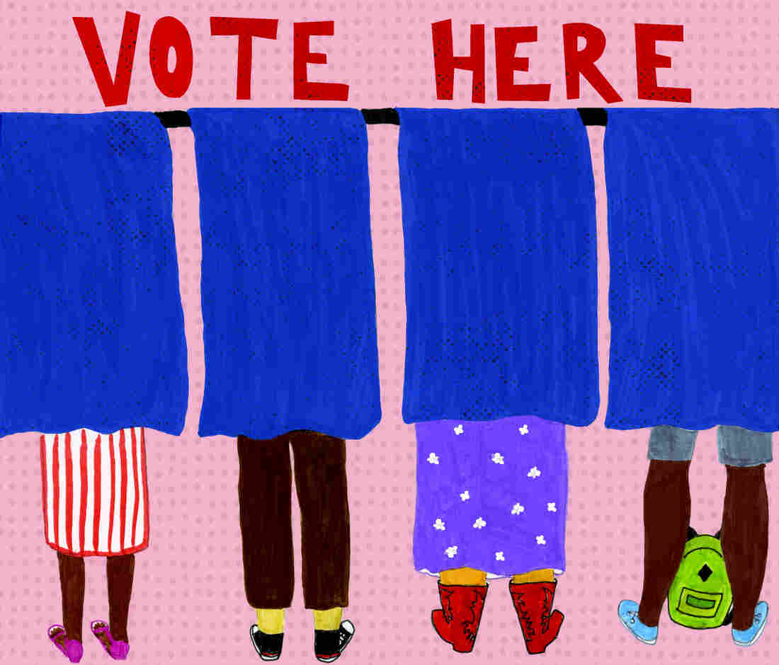An illustration of voters' feet as they cast ballots for an election behind blue curtains.