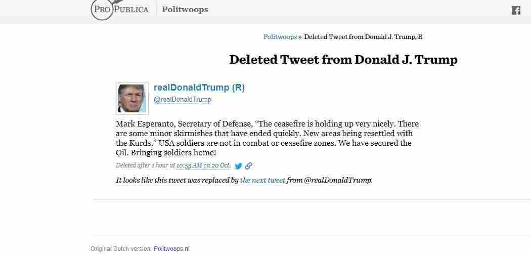 Screen grab of deleted Trump tweet from Oct. 20.