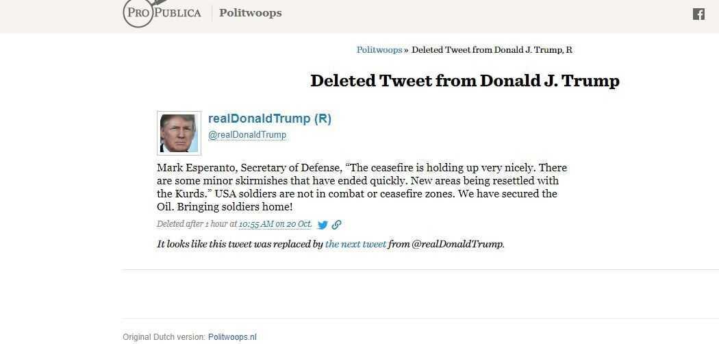 Screen grab of deleted Trump tweet from Oct. 20.