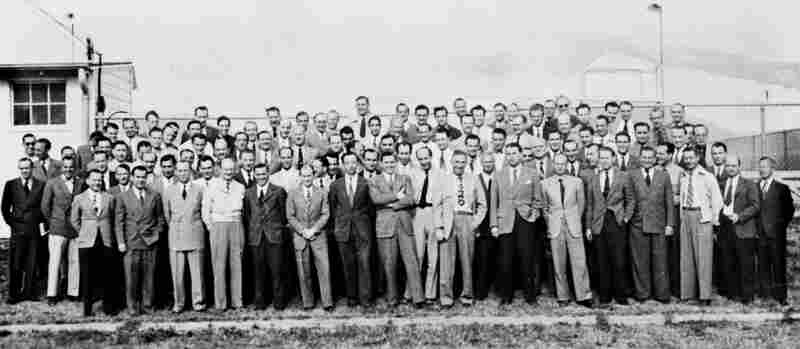 A group of German rocket scientists in 1946, including Wernher von Braun, Ludwig Roth and Arthur Rudolph, at Fort Bliss, Texas. Many had worked to develop the V-2 Rocket in Germany and came to the U.S. after World War II.