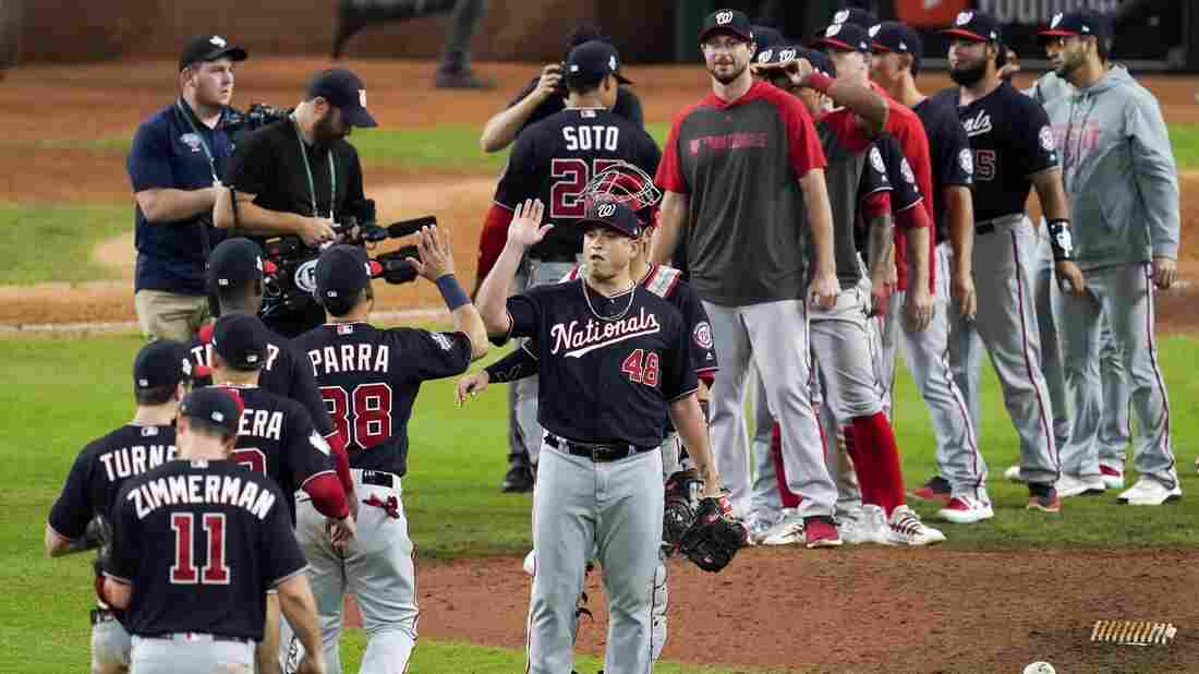 Westlake Legal Group ap_19297153020198_wide-e0f94bf57649d1779ddc4fc1f471736ca3015c67-s1100-c15 Nationals Beat the Astros 12-3 In Game 2 Of The 2019 World Series