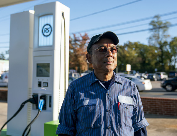Depeswar Doley's RS Automotive in Takoma Park, Md., is the first U.S. gas station to be fully converted to an electric vehicle charging center.
