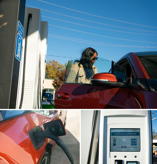 Tamara Robinson, begins charging her car. She has used the station multiple times since its opening a month ago.