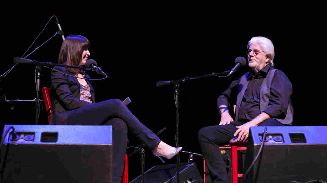 Ask Me Another host Ophira Eisenberg and Michael McDonald at the Lobero Theatre in Santa Barbara, California.