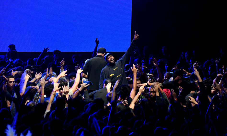 Kanye West onstage during his <em>Jesus Is King</em> album and film event at The Forum on Oct. 23, 2019 in Inglewood, California. (Kevin Winter/Getty Images for ABA)