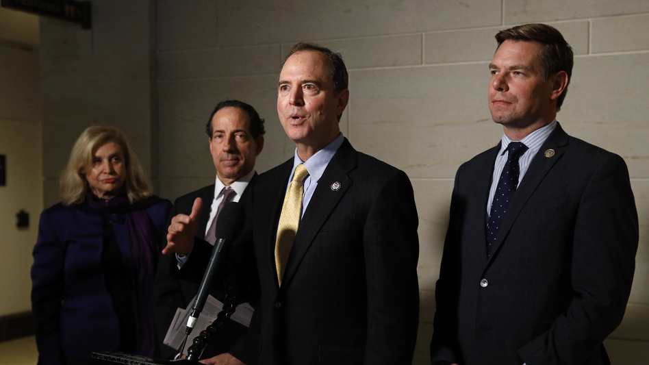 Rep. Adam Schiff (center) chairs the House Intelligence Committee, which would conduct any open hearings under the House impeachment inquiry, according to procedures specified in a resolution formalizing the process. (Patrick Semansky/AP)