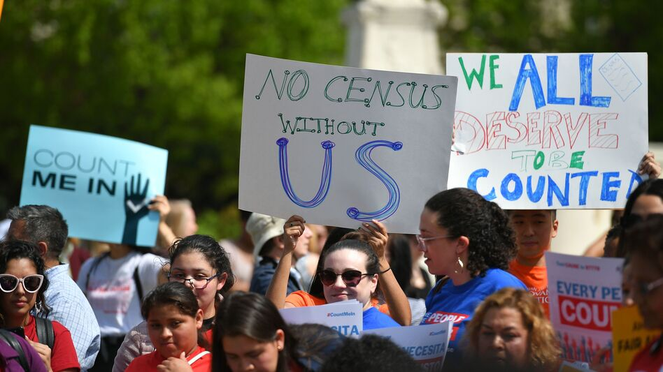 Demonstrators rally in Washington, D.C., in April to protest the Trump administration's efforts to add to 2020 census forms a citizenship question, which has since been blocked by the courts. (Mandel Ngan/AFP/Getty Images)