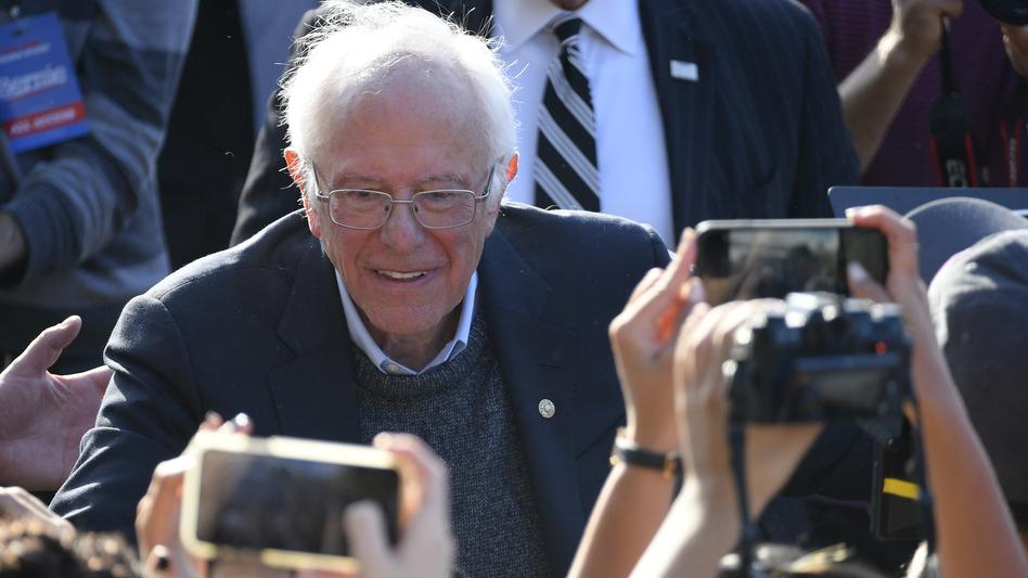 Democratic Presidential hopeful Sen. Bernie Sanders greets supporters during a rally in Queens, N.Y., earlier this month. (NurPhoto/NurPhoto via Getty Images)