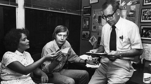 NPR newscasters Jackie Judd (left) and Carl Kasell (right) with Morning Edition host Bob Edwards (center), circa 1979. Judd became a reporter for ABC News and broke the Monica Lewinsky story. Kasell was the show's lead newscaster for 30 years before joining Wait Wait ... Don't Tell Me! full time in 2008.