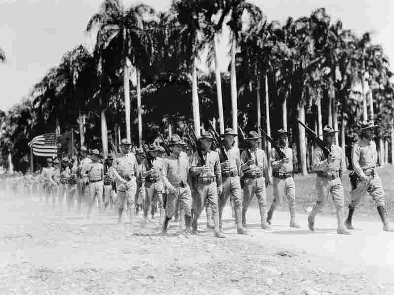 U.S. Marines marching in Haiti, 1934. The United States invaded Haiti in 1915.