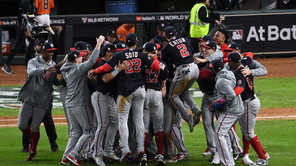 The Washington Nationals celebrate after defeating the Houston Astros in Game 7 to win the World Series at Minute Maid Park on Wednesday in Houston.