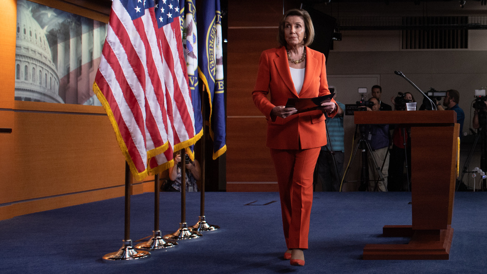 Speaker of the House Nancy Pelosi leaves her weekly press conference on Capitol Hill on Thursday as the House prepared to vote — then pass — a resolution formalizing its impeachment inquiry into President Trump. (Saul Loeb/AFP via Getty Images)