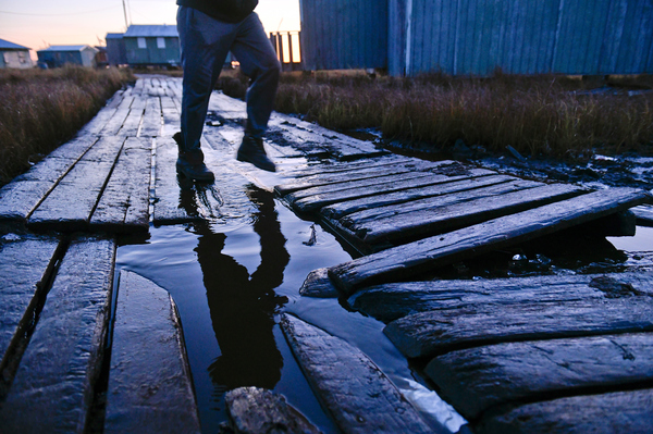 """As Newtok has waited, its boardwalk has sunk into the ground. Residents describe it as """"spongy"""" because of the soft mud underneath."""