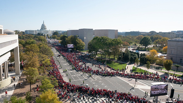 Fans gather in Washington, D.C. on Nov. 2, 2019 as the Washington Nationals hold a parade to celebrate their World Series victory over the Houston Astros.