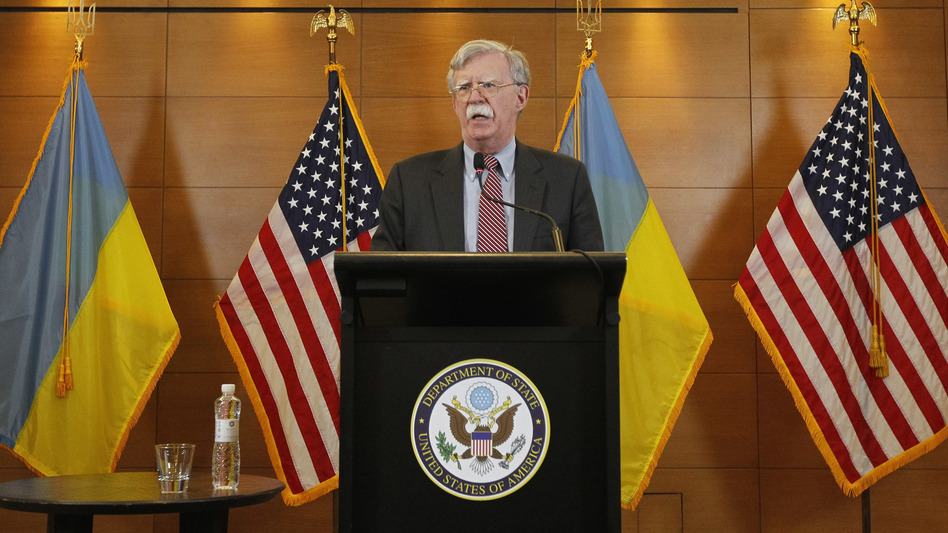 Then-national security adviser John Bolton speaks during a media conference in the Ukrainian capital of Kyiv on Aug. 28, 2018. Bolton, a lifelong Russia hawk, has been described as objecting to Trump's Ukraine policy: Holding up military assistance intended to help Ukraine resist Russian military activity was antithetical to Bolton's worldview. (Pavlo Gonchar/SOPA Images/LightRocket via Getty Images)
