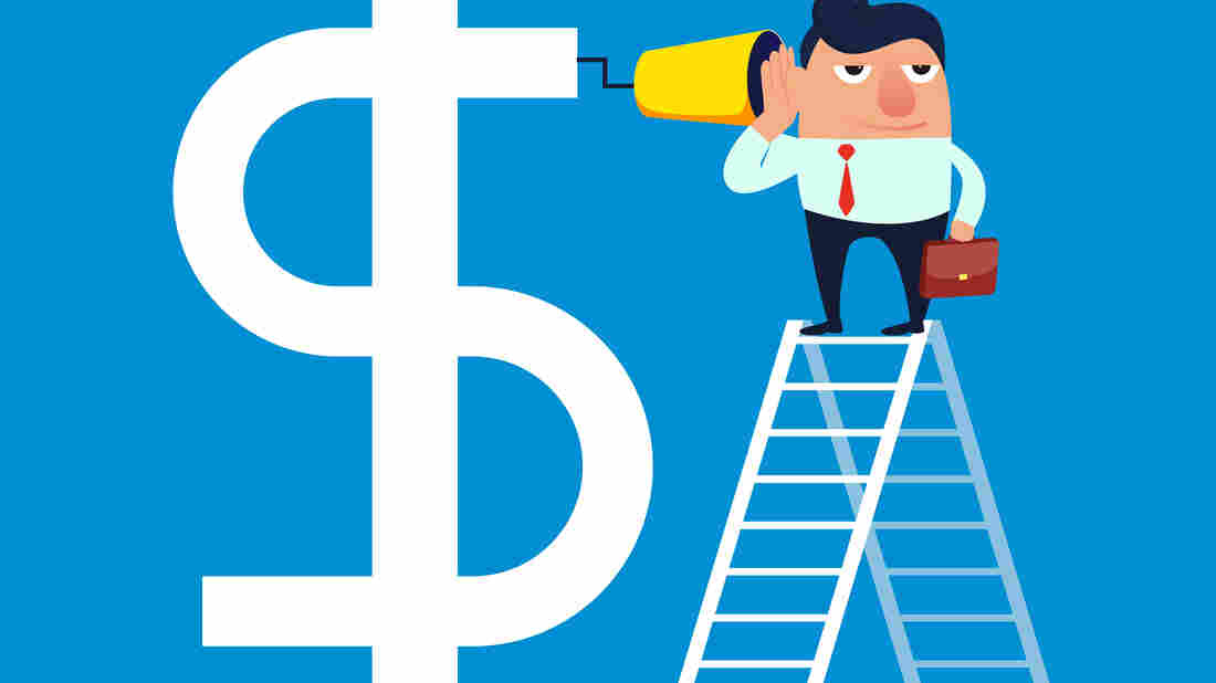 Businessman climbs high with a ladder to communicate with the dollar
