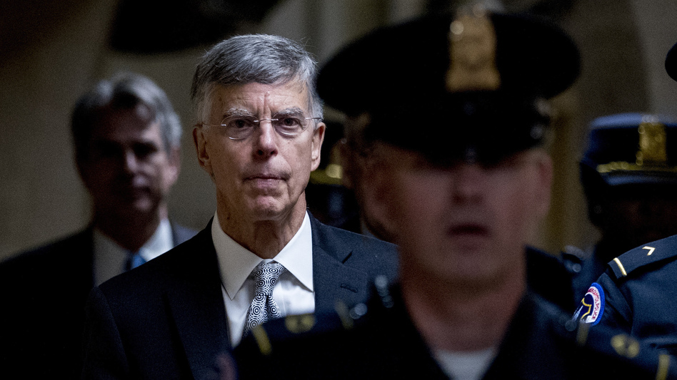 Acting Ukraine Ambassador William Taylor leaves a closed-door meeting on Capitol Hill after testifying as part of the House impeachment inquiry last month. (Andrew Harnik/AP)