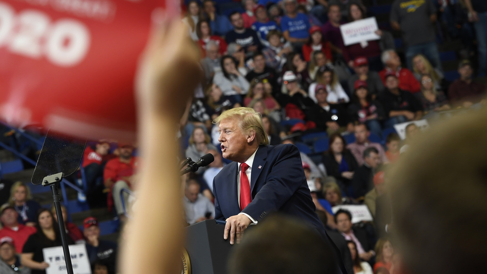 President Trump speaks during a campaign rally in Lexington, Ky., Monday. His efforts don't appear to have been enough to carry incumbent GOP Gov. Matt Bevin over the finish line. (Susan Walsh/AP)