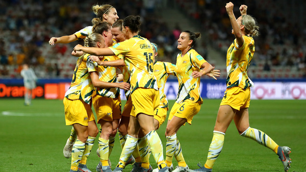 Australia celebrates a goal during its knockout round match against Norway during the Women