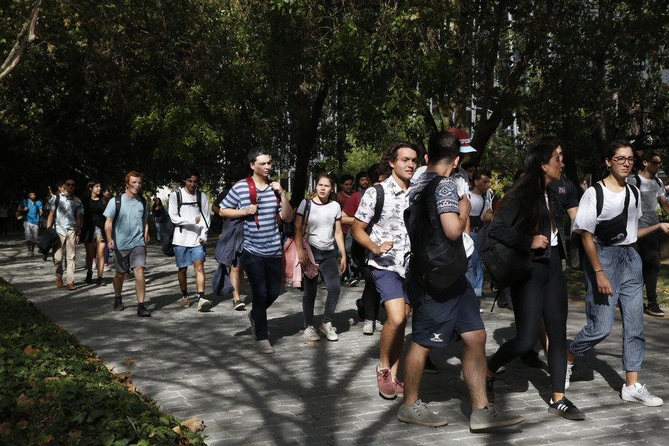Students at Pontifical Catholic University of Chile, in Santiago. The university participates in <em>gratuidad,</em> so tuition is free for qualifying students. (Elissa Nadworny/NPR)