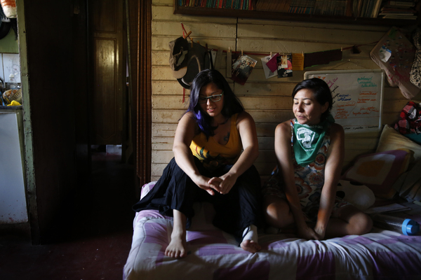 Even with free tuition, Verónica is still struggling financially. To save money, she lives at home with her parents and two siblings.