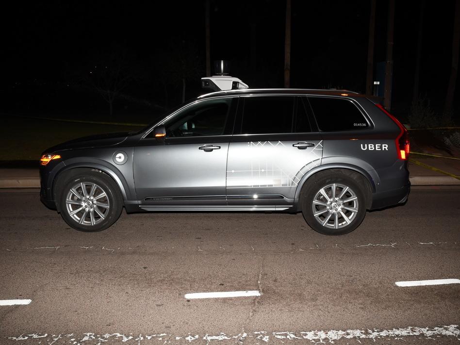 The self-driving Uber SUV that struck pedestrian Elaine Herzberg on March 18, 2018, in Tempe, Ariz. (Tempe Police Department via AP)