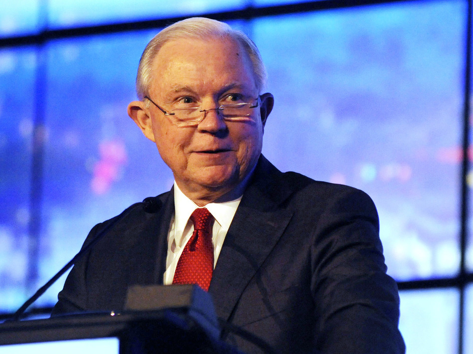 Former U.S. Attorney General Jeff Sessions addresses a business group in Montgomery, Ala., last year. Sessions announced Thursday that he will run to regain his old Senate seat. (Jay Reeves/AP)