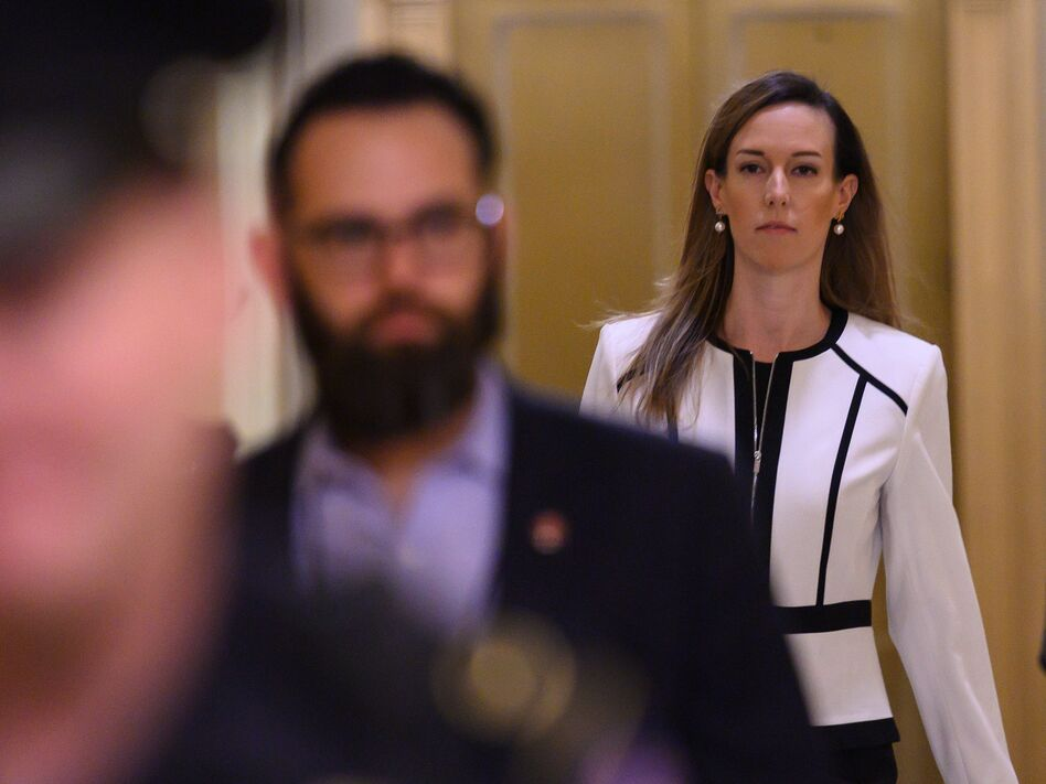 Jennifer Williams, a foreign service officer detailed to work in Vice President Pence's office, arrives for a deposition on Capitol Hill on Thursday. (Andrew Caballero-Reynolds/AFP via Getty Images)