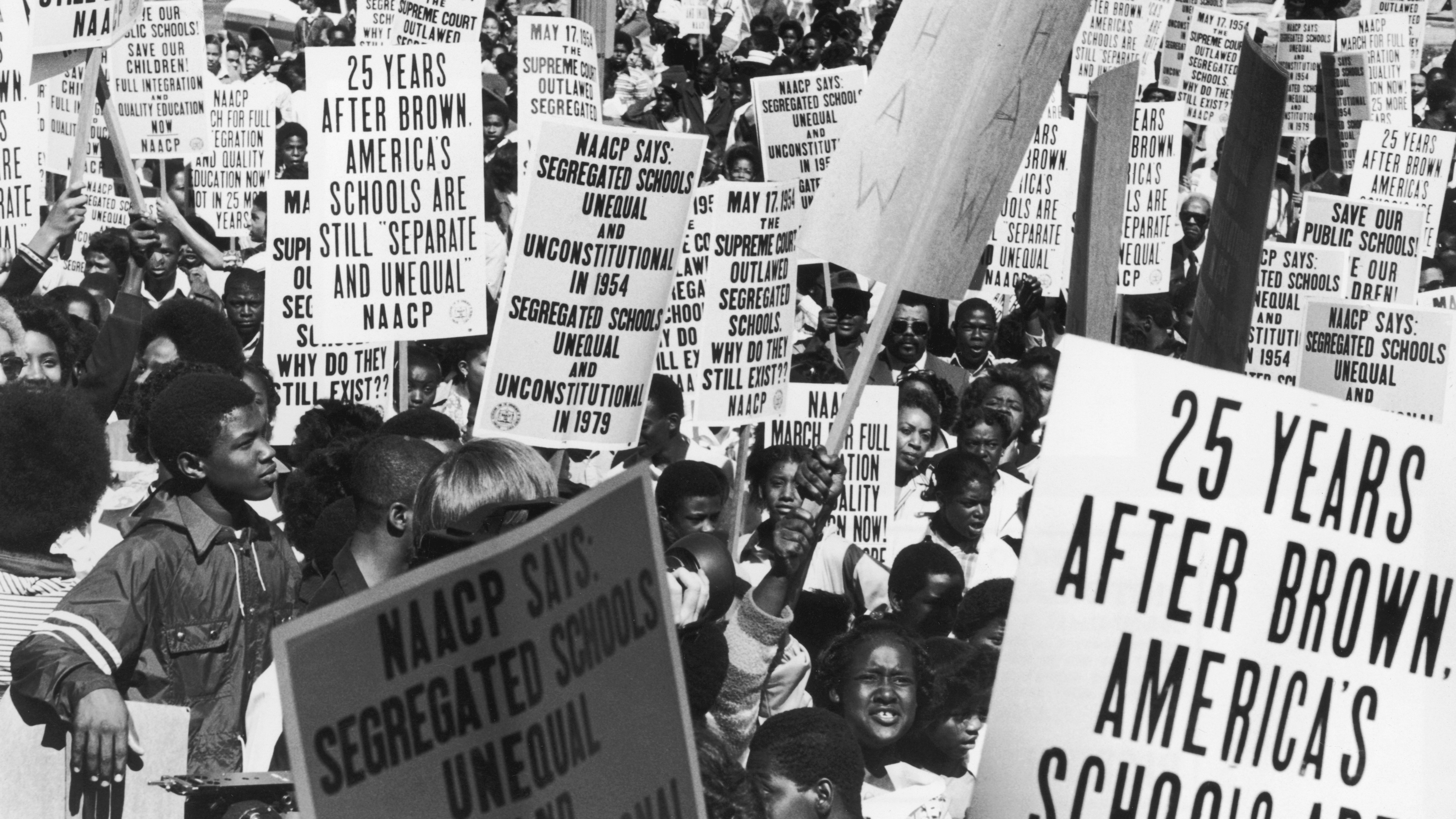 Students and members of the NAACP march in Washington in May 1979, the 25th anniversary of the U.S. Supreme Court ruling that racial segregation in U.S. schools was unconstitutional.