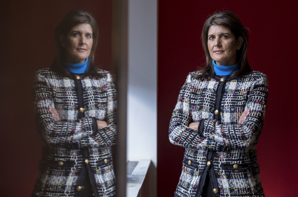 "In an interview with NPR about her new book, former Ambassador to the U.N. Nikki Haley said she made an effort to avoid the ""toxic"" and ""trashy"" White House — and that she'll campaign for President Trump in 2020. Above, she poses for a portrait at NPR studios in New York City on Nov. 8."