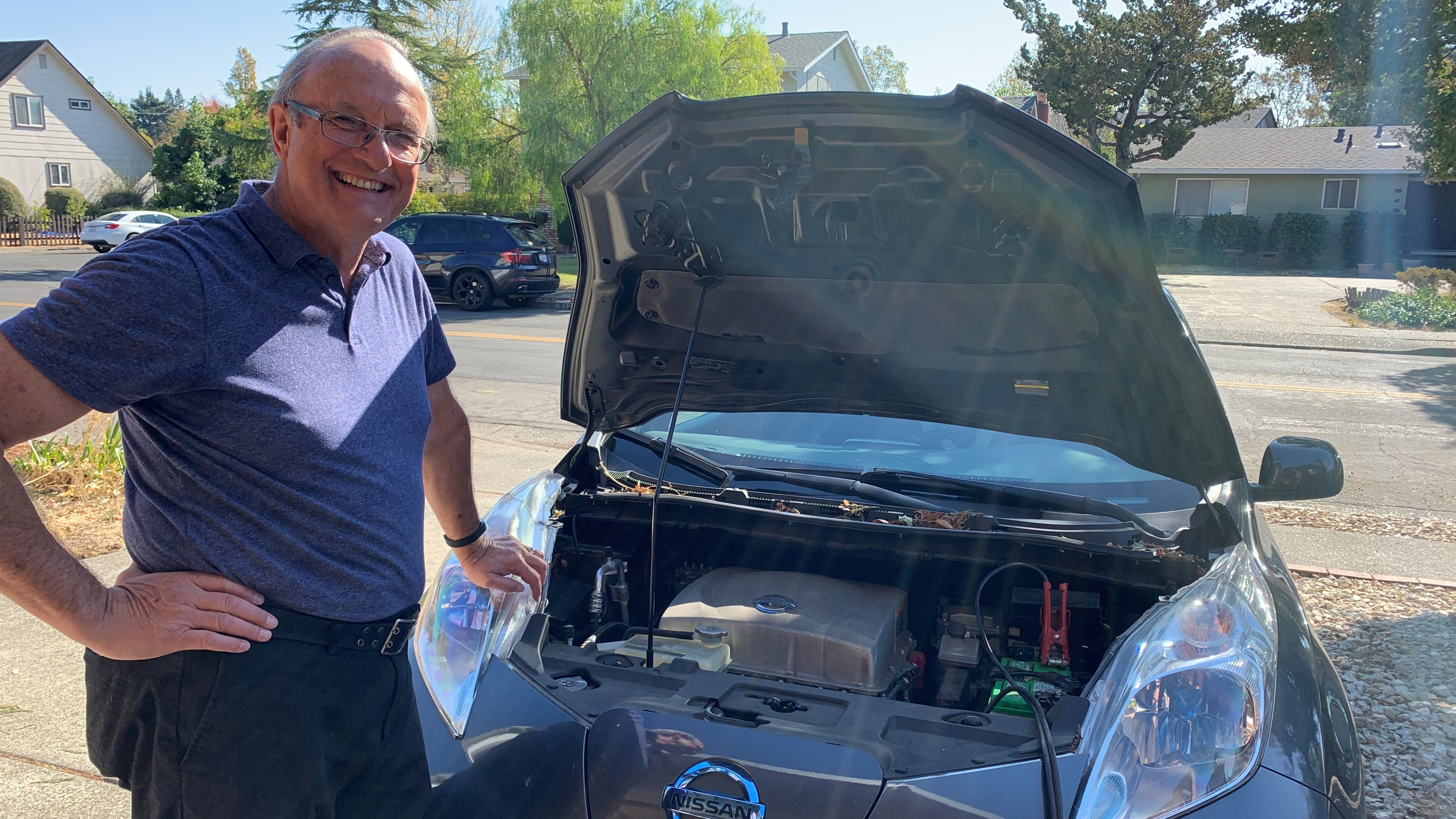 Clarence Dold used his 2013 Nissan Leaf to power his house during a four-day blackout in Santa Rosa, Calif., as a result of the Kincade Fire.