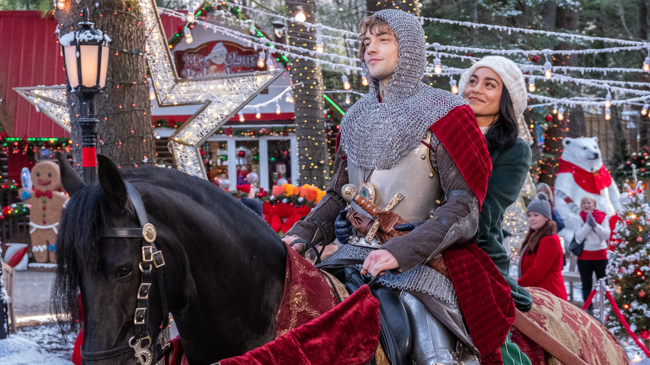 Josh Whitehouse and Vanessa Hudgens star in a movie in which an actual knight comes to modern-day Ohio, and if that's not enough for you, I can't help you. (Brooke Palmer/Netflix)