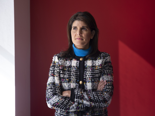 Former Ambassador to the U.N. Nikki Haley's repeated pledges of allegiance to Trump in her new memoir, With All Due Respect, may surprise those who thought Haley had left the administration halfway through her term as some sort of protest. Here, Haley is seen at NPR's offices in New York City.