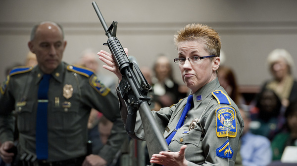 Connecticut State Police Detective Barbara J. Mattson holds a Bushmaster AR-15-style rifle, the same type of gun used in the Sandy Hook shooting, during a 2013 hearing in Hartford, Conn. The gun-maker Remington is being sued by the families of the victims.