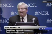 Thomas Hofeller, the now-deceased Republican redistricting expert, appears on C-Span on Aug. 13, 2001.