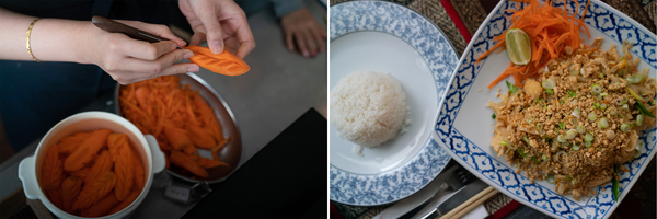 One of Paprajong's daughters carves a carrot in preparation for the evening (left). Plates of rice and Pad Thai (right).