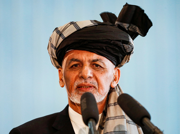 """Afghan president Ashraf Ghani said Tuesday that three Taliban prisoners would be """"conditionally"""" released in exchange for two professors. Ghani is seen here in Kabul in September."""