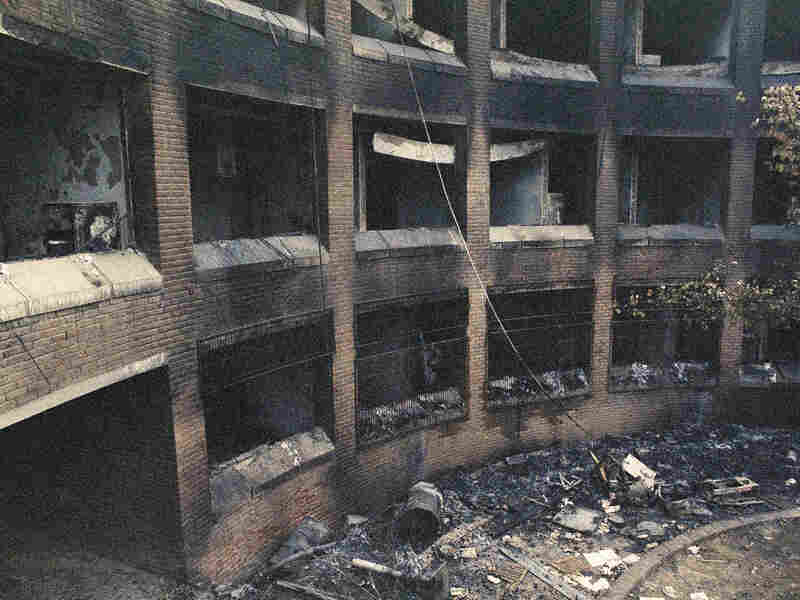 The U.S. Embassy in Islamabad, Pakistan, after it was burned by demonstrators. The attack occurred after a radio report claimed that the U.S. bombed the Masjid al-Haram in Mecca, Islam's holiest site.