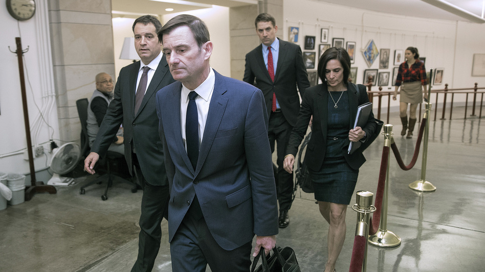 Under Secretary of State for Political Affairs David Hale departs the U.S. Capitol after giving a closed-door deposition to the House committees conducting the impeachment inquiry into President Trump on Nov. 6. (Chip Somodevilla/Getty Images)