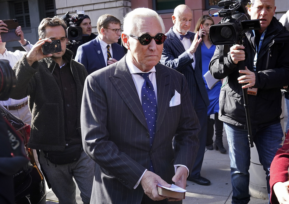 Former Trump adviser Roger Stone leaves a Washington, D.C., courthouse Friday after being found guilty of obstructing a congressional investigation into Russia's interference in the 2016 election. (Win McNamee/Getty Images)