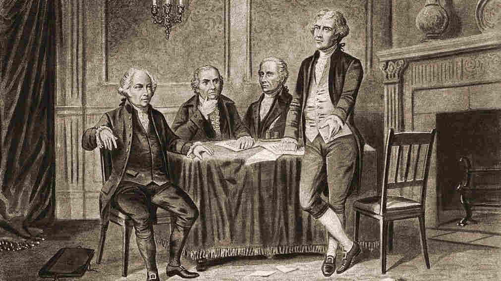 Illustration of four of the United States' Founding Fathers: John Adams, Robert Morris, Alexander Hamilton and Thomas Jefferson.