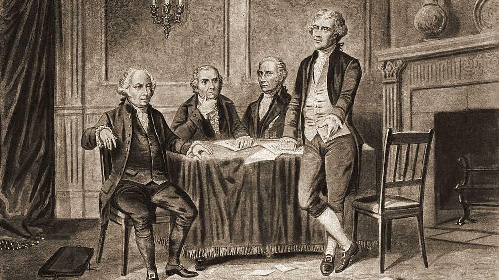 Illustration of four of the United States' Founding Fathers: John Adams, Robert Morris, Alexander Hamilton and Thomas Jefferson.