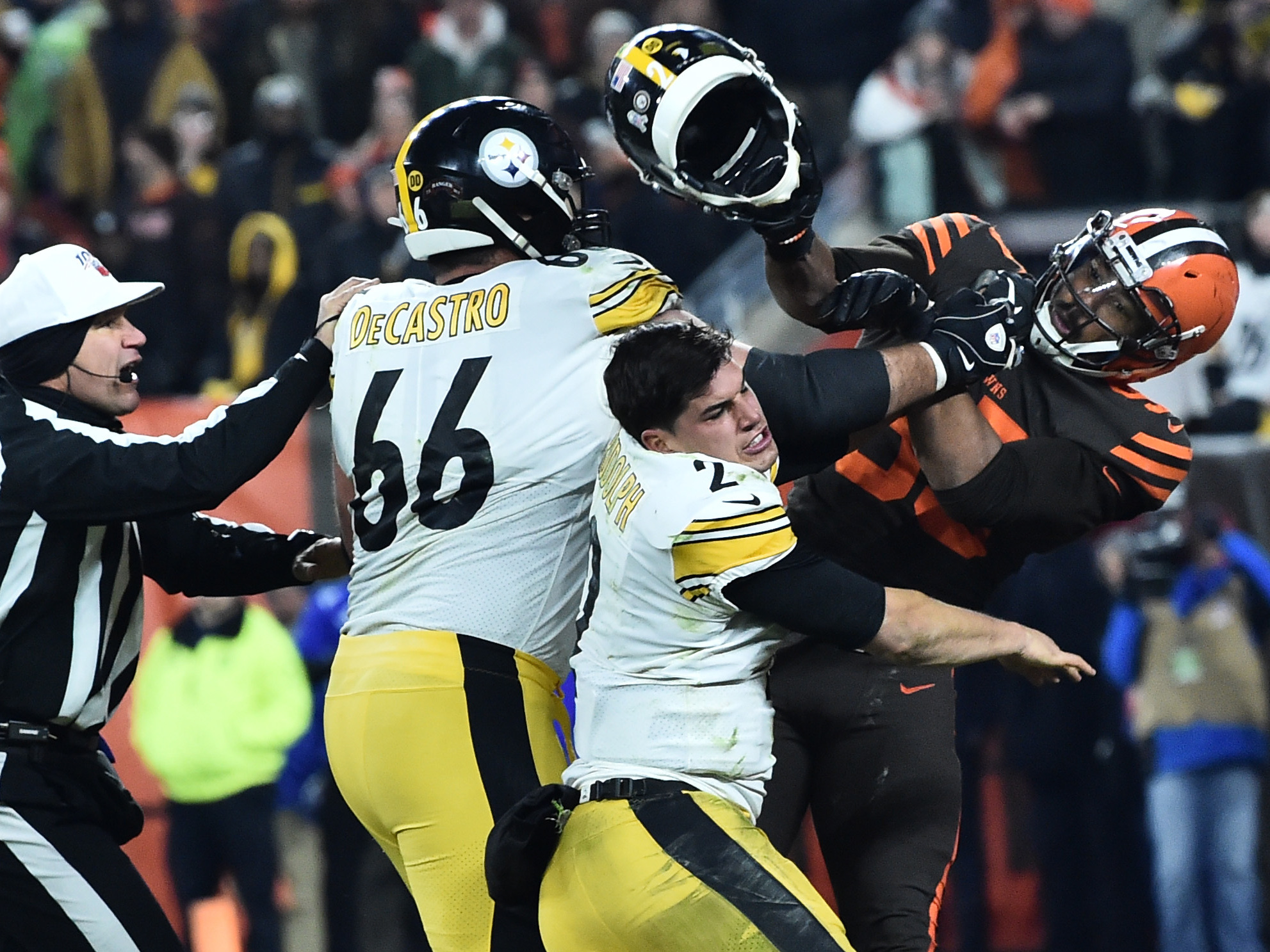 NFL Is Poised To Discipline Myles Garrett For Hitting Steelers QB With His Own Helmet